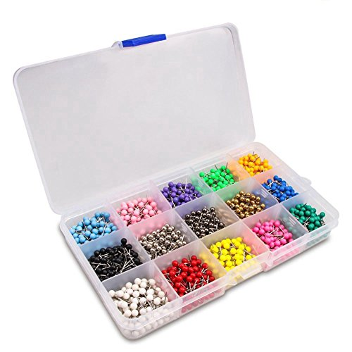 ecken Marking Push Pins 4mm Kunststoff Perlen Kopf, 15 verschiedene Farben, 1500-Count (Die Liste Der Speziellen Fälle)