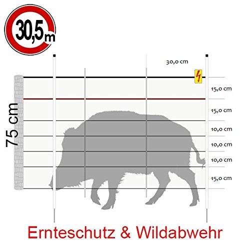 Göbel Weidezaun Elektrozaun Euro Netz Wildschwein Kombi 30,6m lang 75cm hoch 9 Jumbo Pfähle Einzelspitze