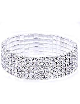 Holacha Pulsera Brazalete de Cristal de Diamantes Elástico Joyería Nupcial Brillante Lujo Refinado Bracelet