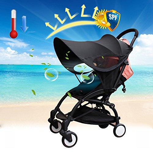 Copertura per carrozzina, parasole per passeggino, protezione dai raggi UV, con zanzariera, accessori in tessuto