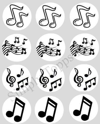 12 Notes De Musique papier de riz fée / Cupcake 40mm toppers pré coupe décoration Fabrication By Simply Topps Ltd Assorti Cupcake Enveloppes En My Boutique