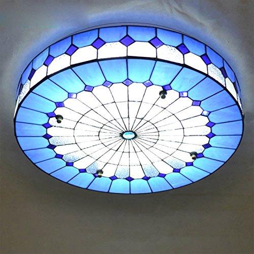 Mediterraner Scheibe LED Schlafzimmer Deckenleuchte Blau Weiss Glas Wohnzimmer Lampe Study Room Restaurant Tiffany Leuchten