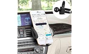 Soporte Móvil Coche, Soporte Para Coche Universal Soporte Smartphone Para Rejillas del Aire de Coche Para iPhone 7 / 6s / 6 Plus / 5s, Samsung Galaxy S8 / S7 / S6 / S5 Nota 4 / LG G3 y Dispositivo GPS