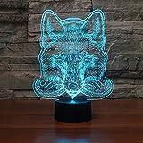 BFMBCHDJ Neuheit Wolfskopf 3D Illusionslampe LED USB Touch RGB 7 Farbwechsel 3D Nachtlicht Nachttisch Deko Schlaf Tischlampe