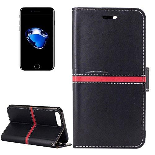 YAN Für iPhone 7 Plus Textur PU Leder Horizontale Flip Leder Tasche mit Halter & Card Slots & Wallet & Photo Frame & Lanyard ( Color : Gold ) Black