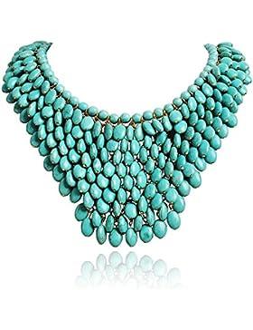 Jane Stone Damen Halskette Statement Kette Oval Form Beads und Charms Wasserfall Boho und Ethno Stil Collier aus...
