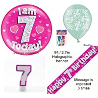 OakTree girls 7th birthday party pack badge banner balloons candle pink age I am 7 today