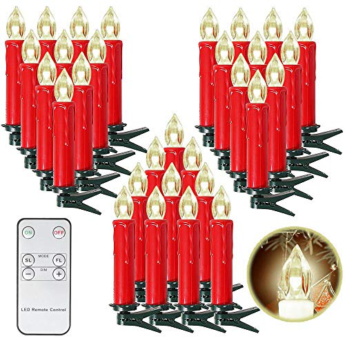 SunJas 20er Rot Weinachten Kerzen Weihnachtsbeleuchtung Weihnachtskerzen mit Fernbedienung kabellos Weihnachtsbaumkerzen 10/20/30/40er