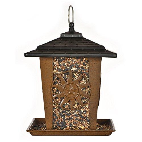 Opus [Perky-Pet] Vogelfutterhäuschen Sonne- und Sterne | Vogelfutterspender aus Metall zum Hängen oder Stangenmontage | Füllkapazität 1,4 kg | Mod. 370