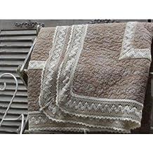 Colcha marca SYLT Beige/crema de ganchillo punta 130 x 180