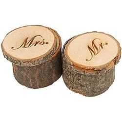 2pcs Cajas para anillos para bodas rústicas Mr & Mrs