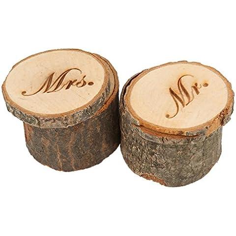 Juego de 2Mr & Mrs Shabby Chic Rústico Anillos de Boda Almohada titular caja de madera