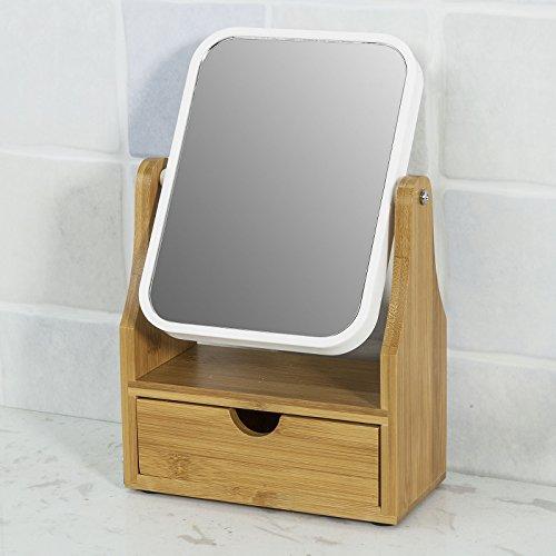 SoBuy®Espejo de Baño, Espejo de Maquillaje,Espejo de mesa con un cajón, Rotación 360°,FRG245-N,ES