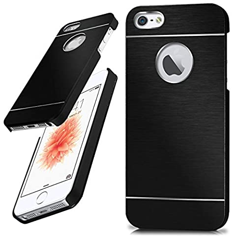 iPhone 5S Hülle Dünn Schwarz [OneFlow Aluminium Back-Cover] Schutz Handytasche Ultra-Slim Handy-Hülle für iPhone 5/5S/SE Case Metall Schutzhülle Alu Hard-Case