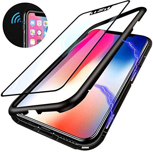 Kompatibel für Huawei P Smart 2019 /Honor 10 Lite Hülle Magnetische Adsorption Metallrahmen Handyhülle Ultradünn 360 Grad Komplett Schutzhülle Flip Cover Transparente Hinten Gehärtetes Glas Case