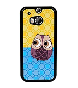 PrintDhaba Owl D-2686 Back Case Cover for HTC ONE M8 EYE (Multi-Coloured)