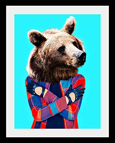 Cuadros Lifestyle Gerahmter Digitaldruck \'Fashion Bear\'   Wandbild   Design-Poster   Holzrahmen   Dekoration   Farbe: Schwarz   in verschiedenen Größen, Größe:40x50 cm