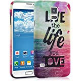 kwmobile Hülle für Samsung Galaxy S5 / S5 Neo / S5 LTE+ / S5 Duos - TPU Silikon Backcover Case Handy Schutzhülle - Cover Live the Life Design Mehrfarbig Pink Blau