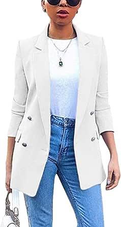 Minetom Donna Manica Lunga Colletto Cappotto Elegante Ufficio Business Blazer Top Gilet Corto OL Carriera Tailleur Giacca