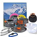 OFNMY Kit de 17pcs Utensilios Cocina Camping - Utensilios para Hoguera de Acampada Ollas y Sartenes de Acampada para Camping, para Picnic, Senderismo, Acampada,etc