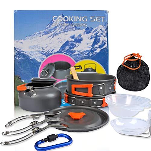 Camping-kochausrüstung (OFNMY Campinggeschirr Set Campingbesteck Camping Kochgeschirr Set 2-3 Personen Kochtopf 17-TLG Kochausrüstung für Outdoor Wandern Picknick)
