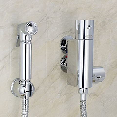 Thermostatic Muslim Shataff Bidet Douche Shower Toilet Spray Chromed Brass Kit Head by E-PLUMB