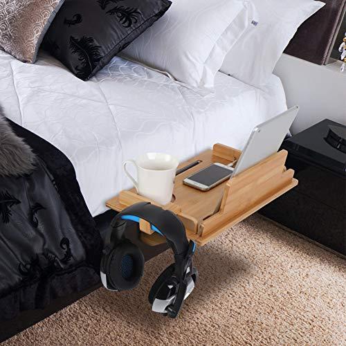 Cocoarm Nachttisch Regal Bambus Nachttischregal Nachtkonsole Regal mit Kabelführung, Platzsparer Nachtschrank mit Kopfhörerständer für Studentenwohnheim Schlafzimmer 40 × 27 × 8 cm