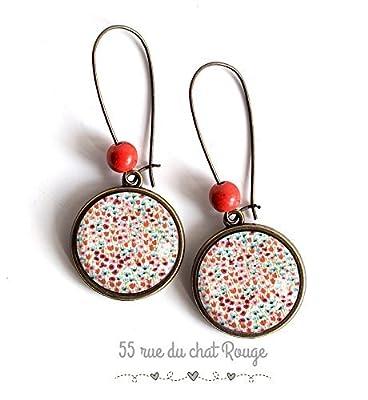 Boucles d'oreilles cabochon, Petites fleurs, coquelicots, fleuri, peps, coloré, nature