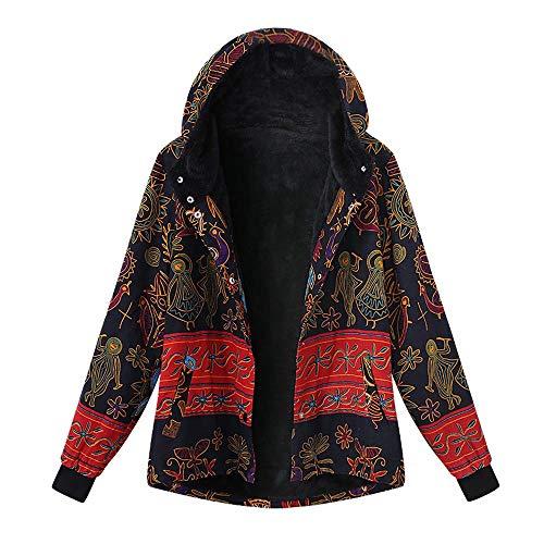 VEMOW Winter Herbst Heißer Frauen Damen Plus Größe Kapuzenjacke Langarm Vintage Casual Täglichen Freizeit Fleece Dicker Reißverschluss Mantel(Mehrfarbig, EU-46/CN-XL)