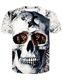 Unisex 3D Patrón Calavera O-Cuello Impreso Casual Manga Corta Camisetas Top Tees Camiseta Impresa