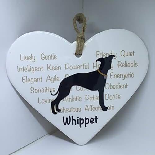 regalos tus mascotas mas kawaii Whippet Perro de mascota en forma de corazón de cerámica placa/señal