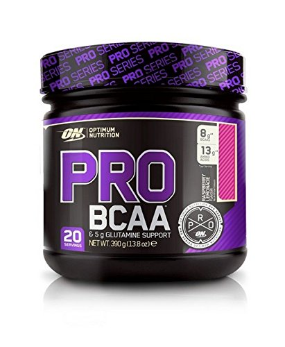 Optimum Nutrition PRO BCAA- Verzweigtkettige Aminosäuren (L-Leucin, L-Isoleucin, L-Valin, mit Glutamine, BCAA Pulver von ON) Raspberry Lemonade, 20 Portionen, 390g -