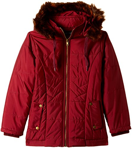 Fort Collins Girls' Regular Fit Synthetic Jacket (10212_Maroon_28 (8 - 9 years))