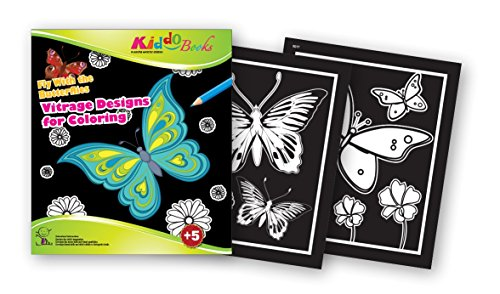 QuackDuck Colouring Book Fly with the Butterflies - Vitrage designs for colouring - Colouring Pad from children from 5 years - with colourful cover for envelope