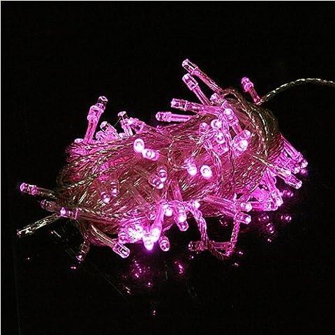 100 LED 10m rosa decoración de la secuencia de luz para la fiesta de Navidad 110 220.