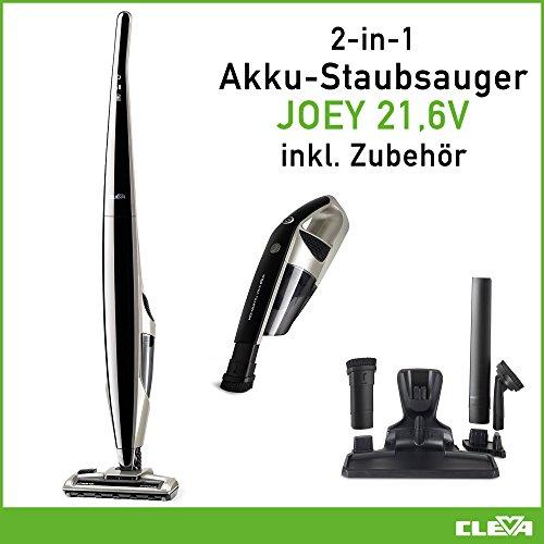 Premium 2in1 Akku Staubsauger - Handstaubsauger - kabellos- Allergiker geeignet mit HEPA 13 Filterung - beutellos, Lithium Ionen Akku - selbstreinigende Elektrobürste - JOEY VSA 2110 EU von CLEVA (Tier Filter)