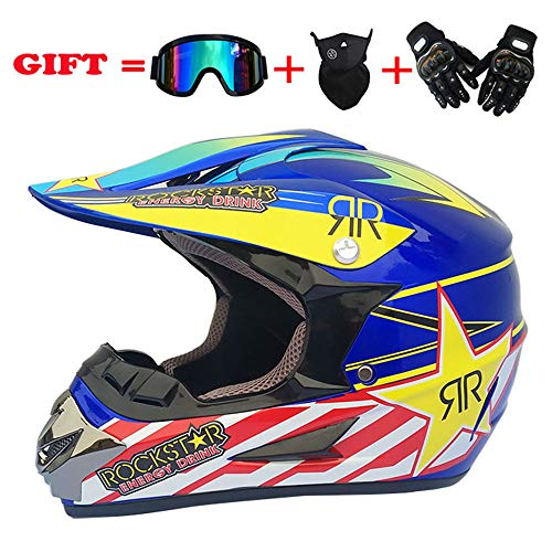 EDW Casco Integrale da Cross MX Motocicletta da Adulto ATV Scooter Fuoristrada DOT (Dirt Bike Gloves, Occhiali, Maschera, Set di 4 Pezzi, Disponibile in più Colori e Stili),Pattern4,S(55~56cm)