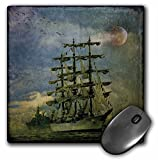 3dRose LLC 8 x 8 x 0.25 Inches Tall Ship Clouds Moon Vintage Mouse Pad (mp_55977_1)