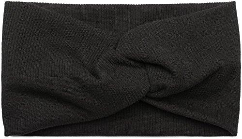 styleBREAKER Haarband in Feinripp Optik mit Schleife, Stirnband, Headband, Damen 04026009, Farbe:Schwarz -