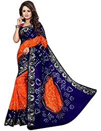 Glance Designs Cotton Silk Saree (Gps125_Blue & Orange)