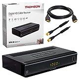 Kabel Receiver Kabelreceiver – DVB-C HB-DIGITAL SET: THOMSON THC300 HD Receiver für digitales DVB-C Kabelfernsehen (HDMI, SCART, USB 2.0, Coaxial S/PDIF, Mediaplayer) + 1m HDTV Antennenkabel vergoldet mit Mantelstromfilter schwarz + HDMI Kabel