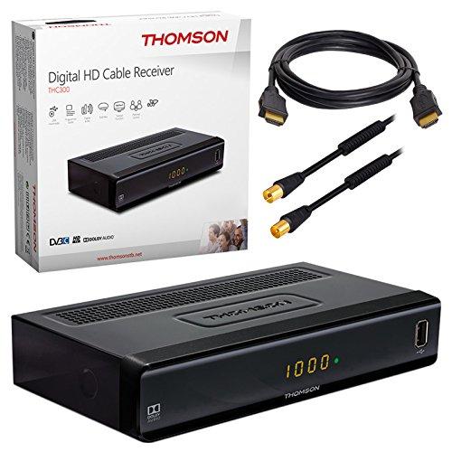 Kabel Receiver Kabelreceiver – DVB-C HB-DIGITAL SET: THOMSON THC300 HD Receiver für digitales DVB-C Kabelfernsehen (HDMI, SCART, USB 2.0, Coaxial S/PDIF, Mediaplayer) + 7,5m HDTV Antennenkabel vergoldet mit Mantelstromfilter schwarz + HDMI Kabel