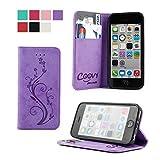 COOVY Étui pour Apple iPhone 5c Coque, boîte de Carte de crédit, Fermeture...