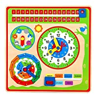 Lelin Wooden Calendar Wall Mount Clock Childrens Learning Educational Weather Season Toy, Multicoloured