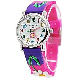 Willis - Reloj de Niñas Analógico de Cuarzo Cartoon 3D Cute Reloj de Pulsera Infantil Correa de Goma Ambiental para Estudiantes - Color 19