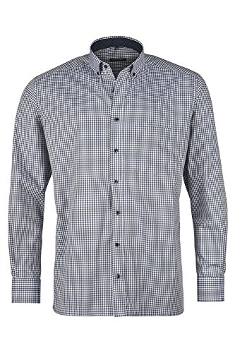 Eterna Long Sleeve Shirt Comfort Fit Chambray Checked Verde/Blu/Bianco