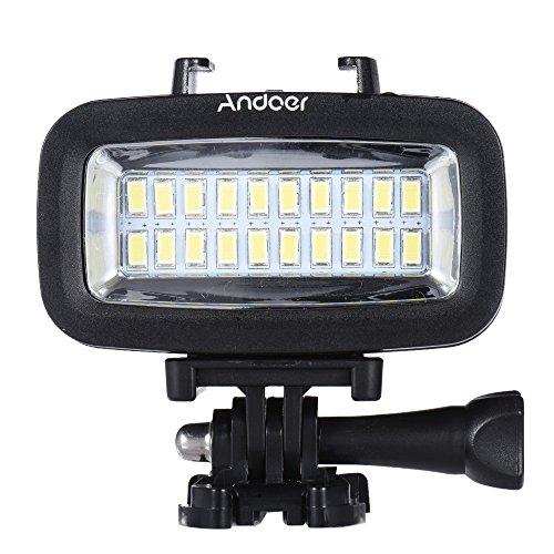 Andoer High Power 700LM Tauchen Video Fill-in-Licht-LED-Beleuchtung-Lampe Wasserdicht 40M 1900mAh eingebaute wiederaufladbare Batterie mit Diffusor für GoPro SJCAM Xiaomi Yi Sport Action Kamera (Licht Tauchen)