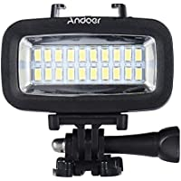 Andoer 700LM Video Luz LED Lámpara Impermeable 40M 1900mAh Built-in Recargable Batería con Difusor para GoPro Xiaomi Yi Cámara Deportiva