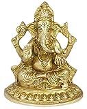 RoyaltyLane Lord Ganesha Statue auf Lotus sitzend–Elefant Gott Messing Statue–Hindu Gott Skulptur–14x 11,4x 7,6cm