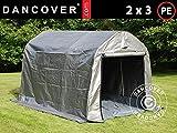 Dancover Lagerzelt Zeltgarage Garagenzelt PRO 2x3x2m PE, mit Bodenplane, Grau